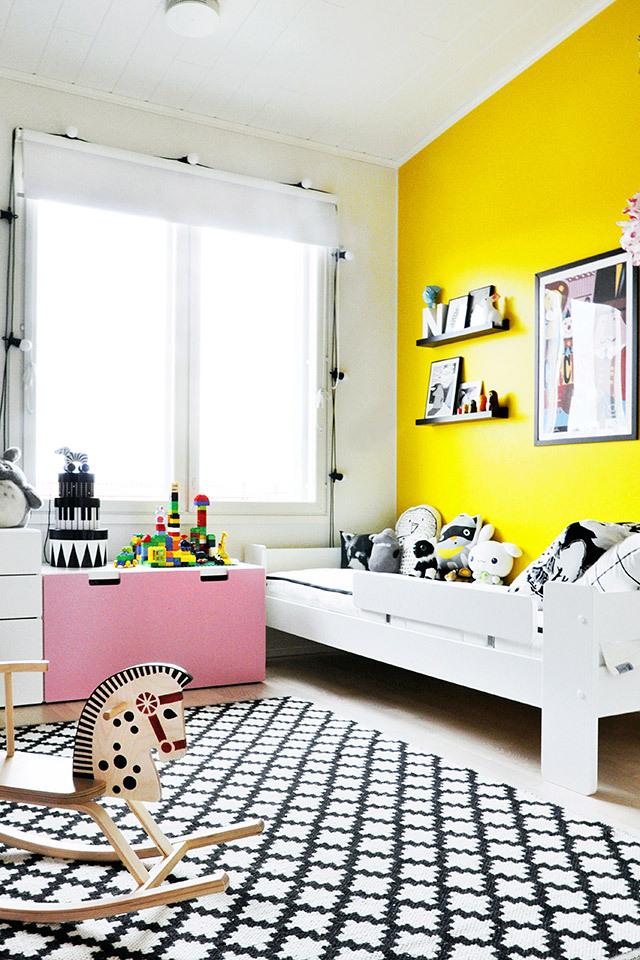 Pared amarilla trendy children blog de moda infantil - Pared habitacion infantil ...