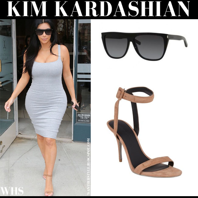 Kim Kardashian in light grey dress, beige suede Alexander Wang Antonia sandals and black YSL sunglasses what she wore june 12