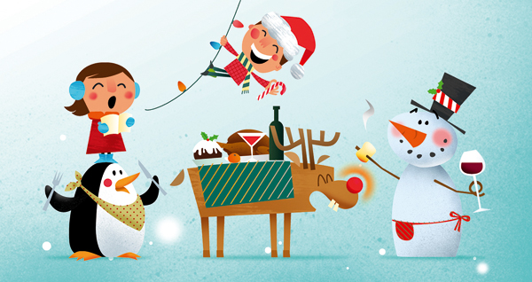 merry christmas illustration by Kasia Kaczmarek