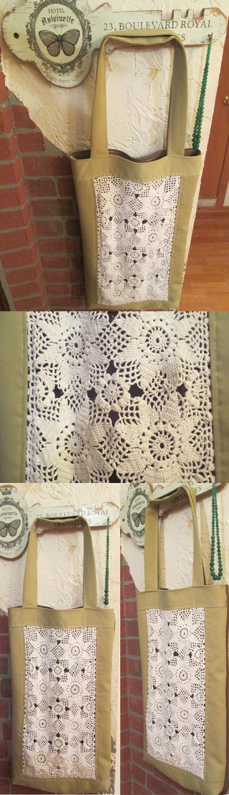 handmade bag with a crocheted dolly decor
