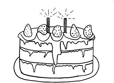 Desenhos de Bolos de Aniversário para Colorir