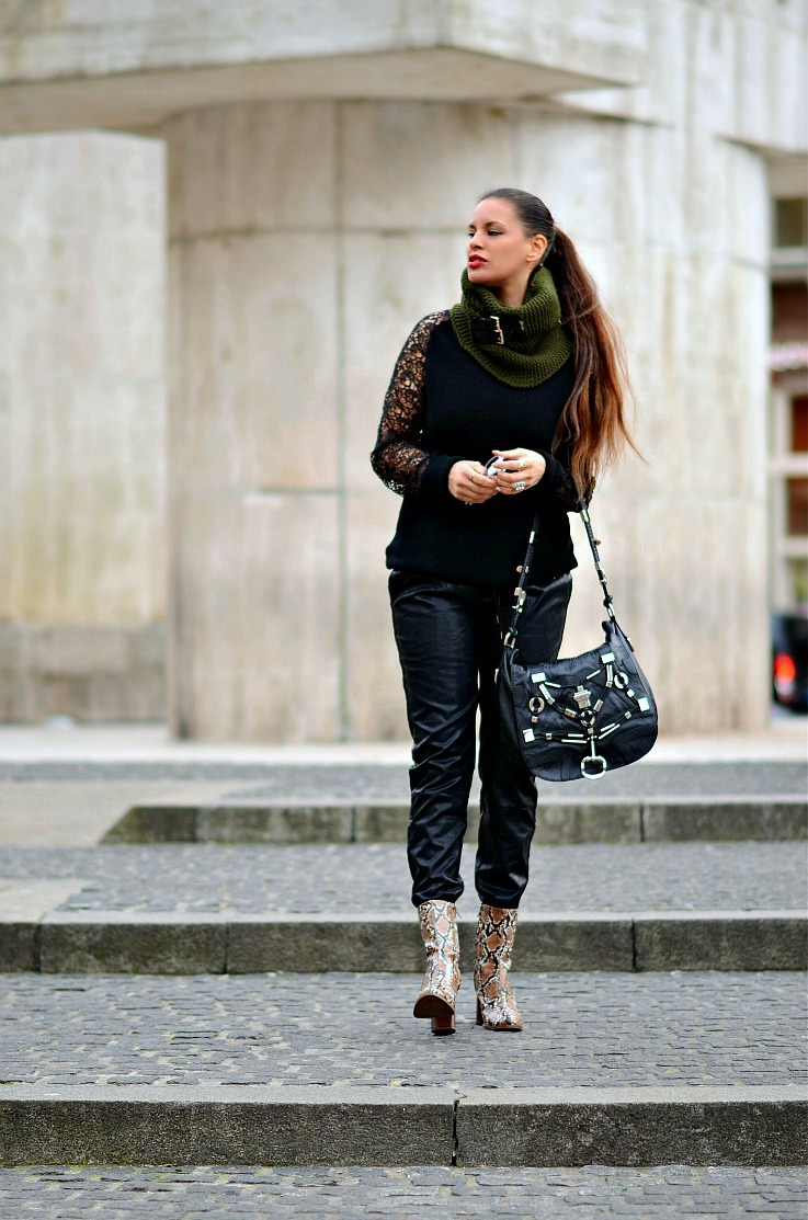Gucci Techno Horsebit bag, Leather joggers, Snake skin anke boots, Laced sleeved wollen sweater, Jacky Luxury, Amsterdam dam square, Mango