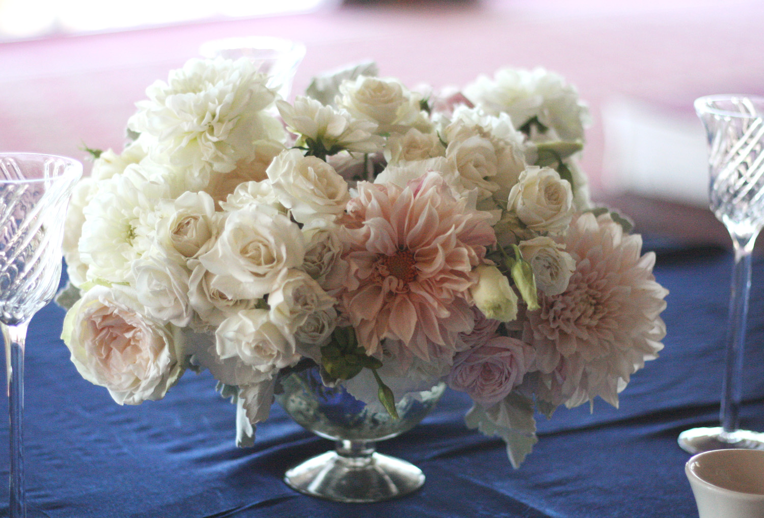 Oak The Owl White And Soft Pink Sample Centerpieces