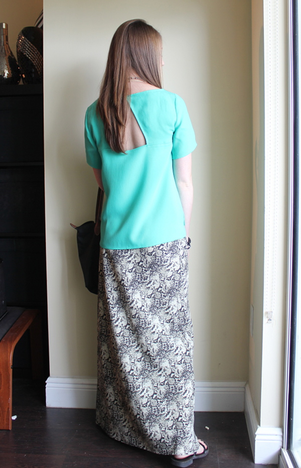 professionally petite, snake print maxi skirt, ann taylor open back crepe top, target gladiator sandals, longchamp le pliage, beaded bracelets, bohypsy necklace