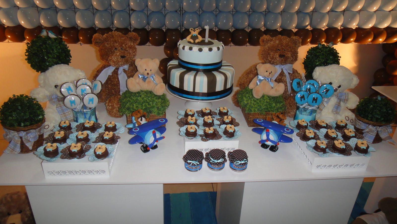 decoracao festa urso azul e marrom:Marias Festeiras: Festa Urso Marron e Azul