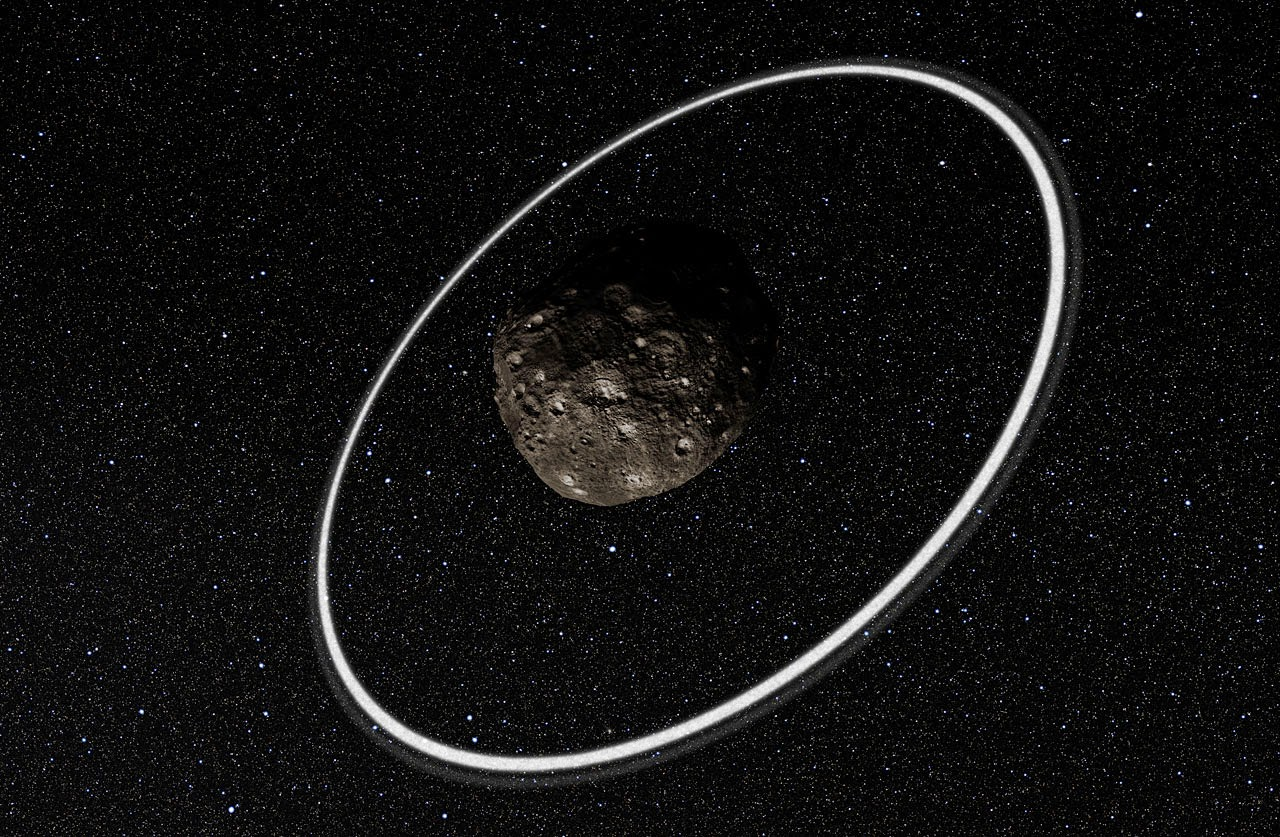 Artist's impression close-up of the rings around Chariklo