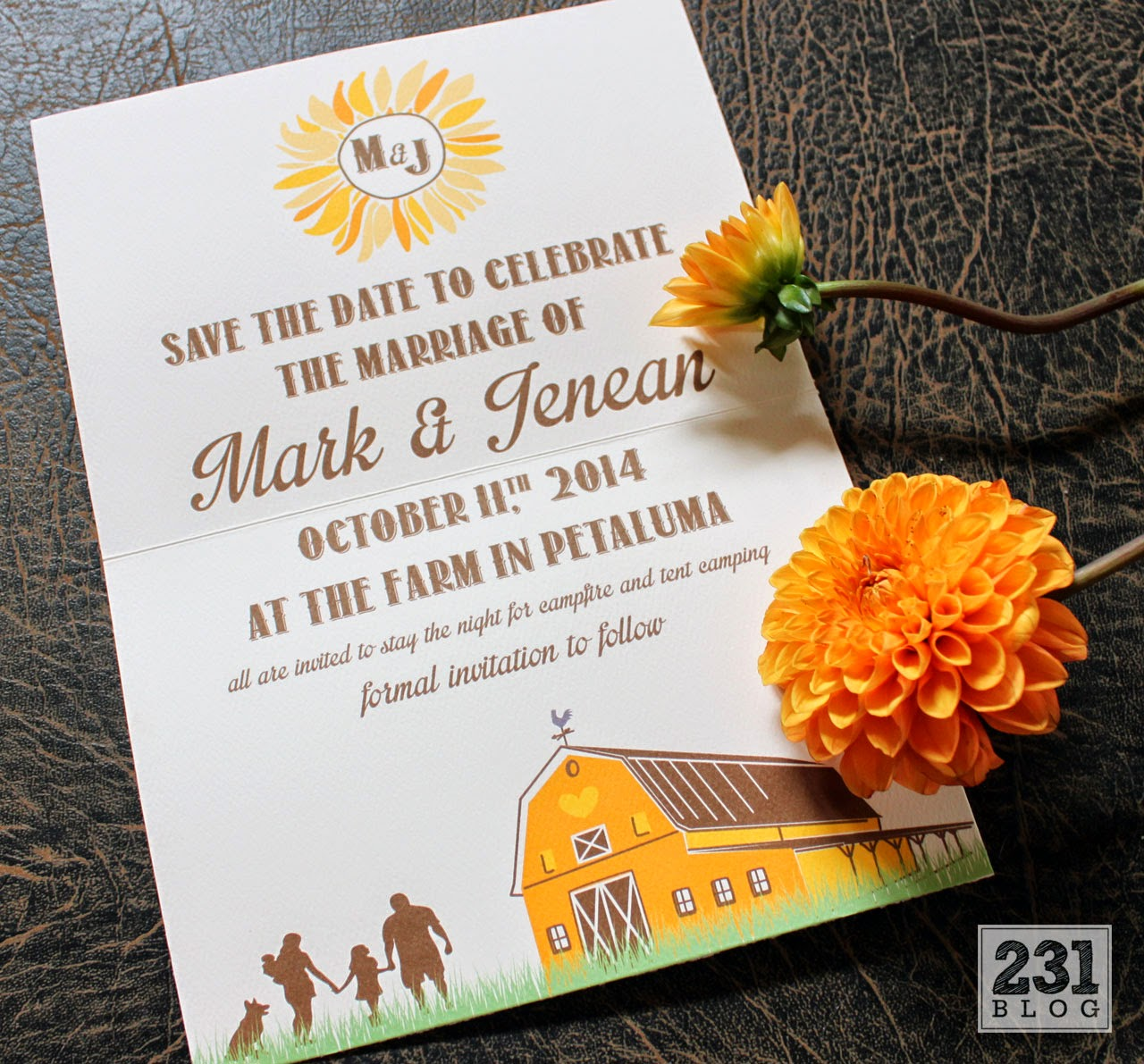rustic farmhouse sunflower wedding save the date