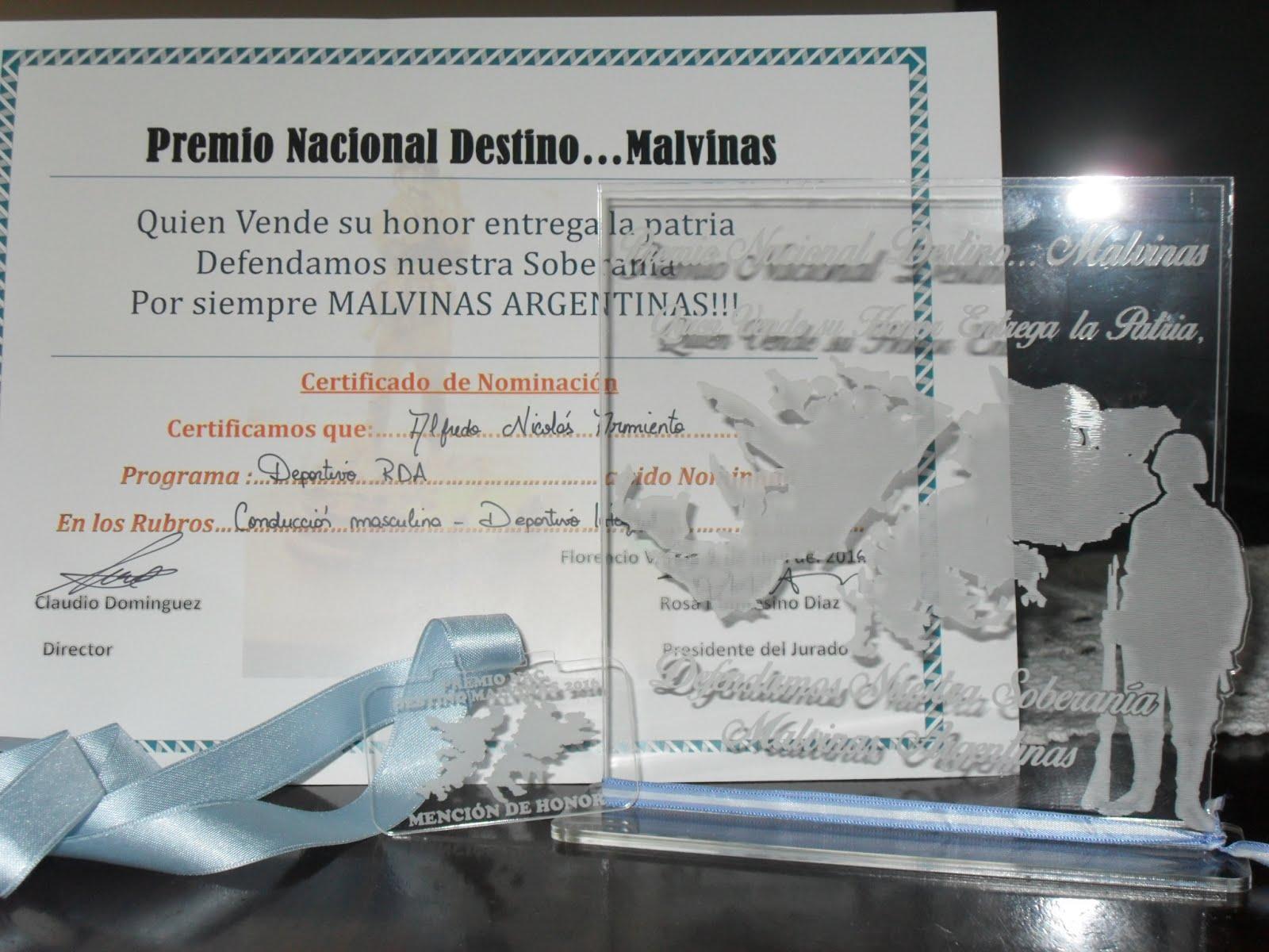 """Premio """"Destino...Malvinas"""" 2016"""