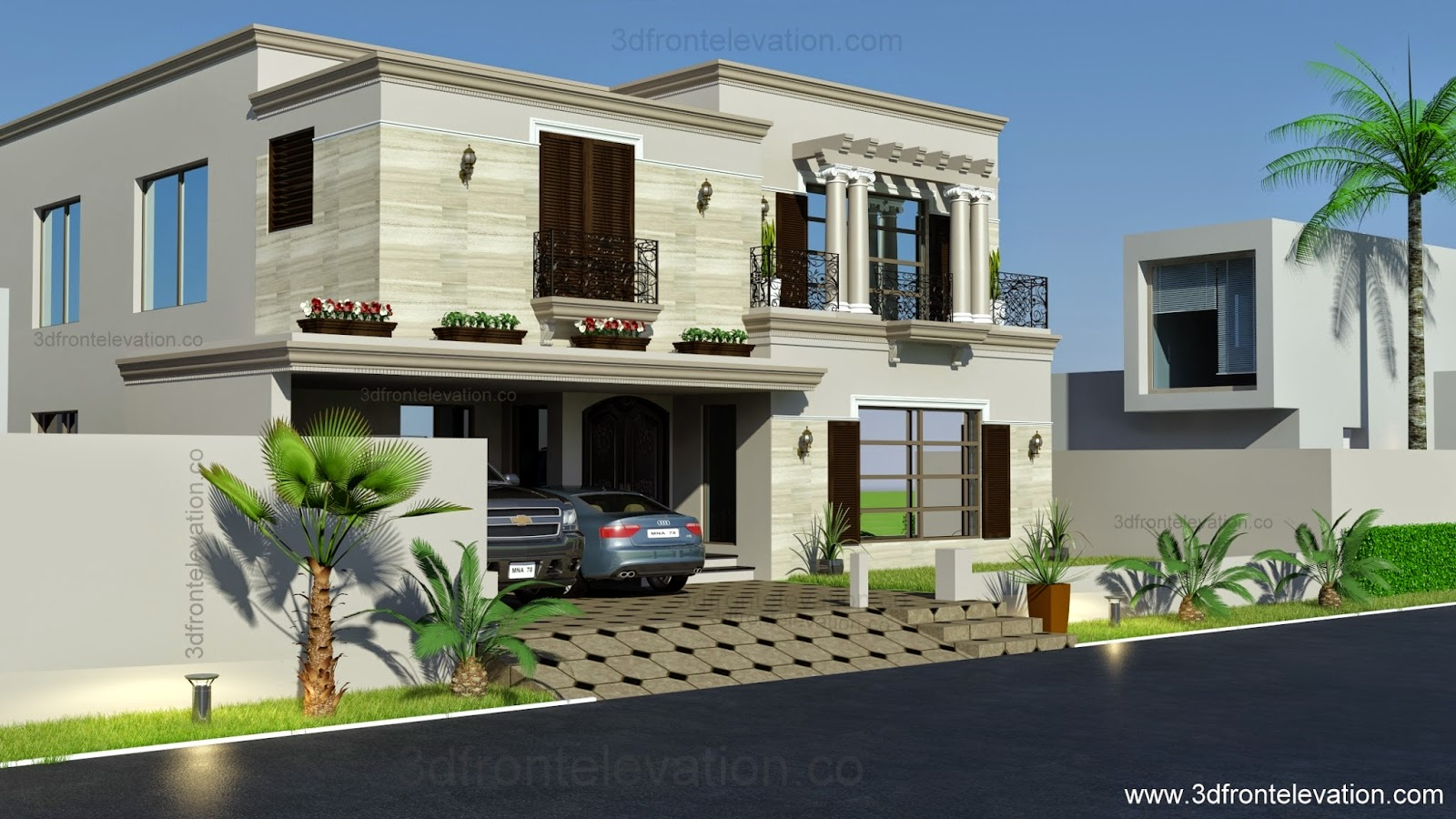 3d Front 1 Kanal Spanish House Design Plan Dha Lahore Pakistan