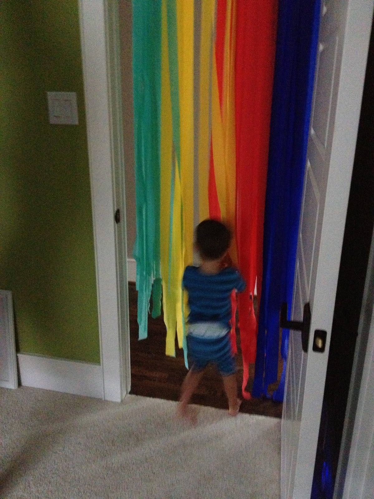 On His Birthday He Woke Up And Ran Through Door Decorated With Streamers Leftover From Party Decorations LOVED It