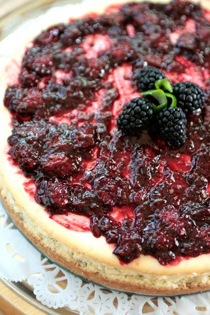 Indigo Scones: Lime Cheesecake with Blackberry Sauce