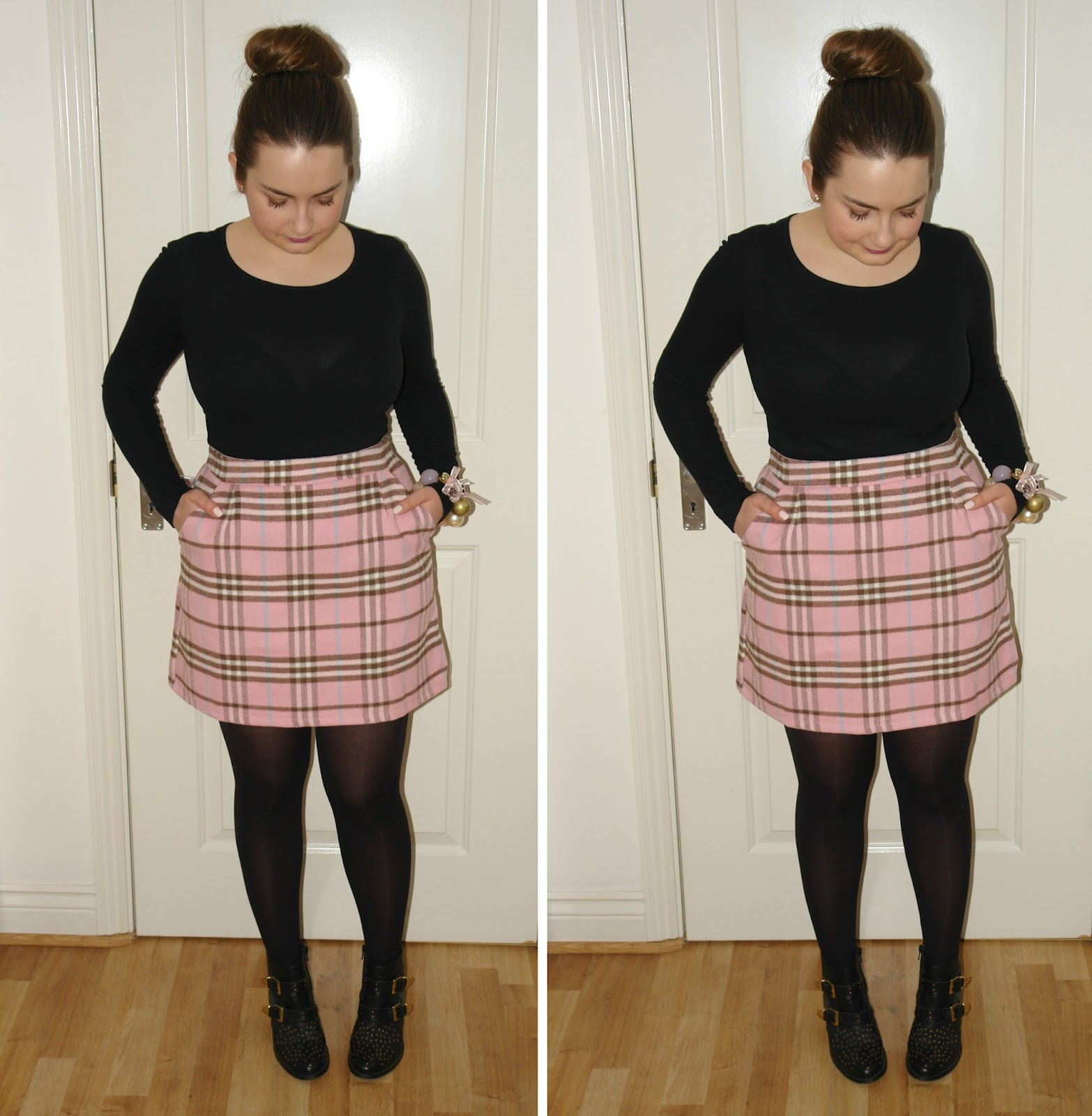 WHAT I WORE TODAY: pink tartan mini skirt from New Look, Cameo Rose Pink Tartan Mini Skirt £17.99, ankle boots, black, bracelets, jewellery, New Look, pink, rings, skirt, tartan, Topshop, WHAT I WORE TODAY, WIWT, Primark, outfit, UK fashion blogger