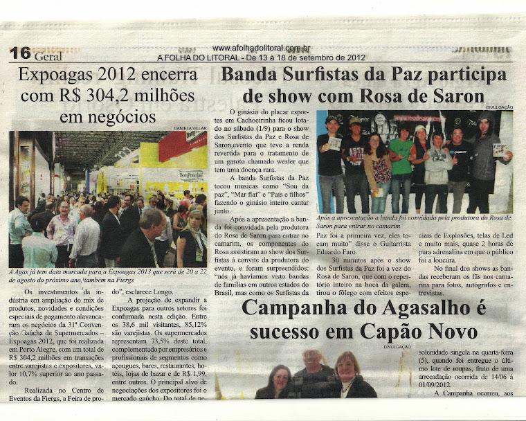 Surfistas e Rosa de Saron no Jornal A Folha Do Litoral