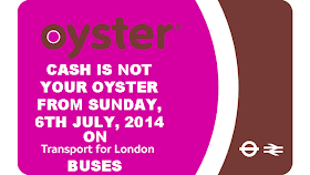 TFL BUSES: CASH PAYMENT TO STOP ON SUNDAY: