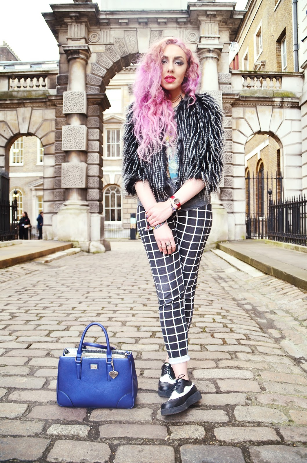 LFW A/W15 DAY FOUR OOTD// FASHIONPILLS AND PINK FLOYD. OUTFIT OF THE DAY Black and white speckled fur jacket * // Fashion Pills Pink Floyd Wish You Were Here T-shirt // Urban Outfitters Check pattern trousers * // Boohoo Black and white monochrome creeper platform brogues * // SpyLoveBuy Red Watch * // Bering Blue Silver lining grab bag * // Marc B Sunglasses * // Mui Mui Rings * // Story, Black Moon, Euphoria Creations