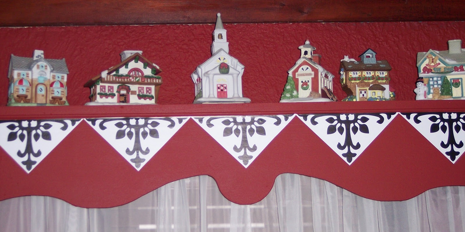 Christmas valances - Part Of Our Christmas Village Was Placed On The Window Valance Above The Bed