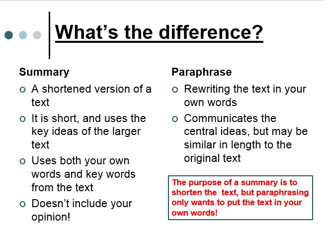 Difference between paraphrase and summary examples