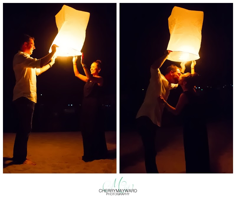 lantern release in thailand,  Koh Samui lanter photos, Wedding photographer, letting off lanterns, good luck lantern release photos, Thailand lucky lantern, couple in love, Koh Samui proposal, Cherry May Ward Photography