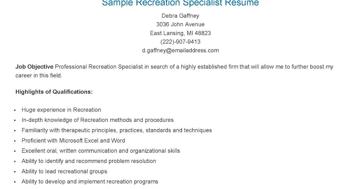 resume samples  sample recreation specialist resume