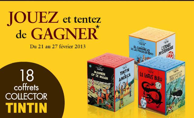 18 coffrets Tintin avec 32 mini-tablettes de chocolat Jeff De Bruges