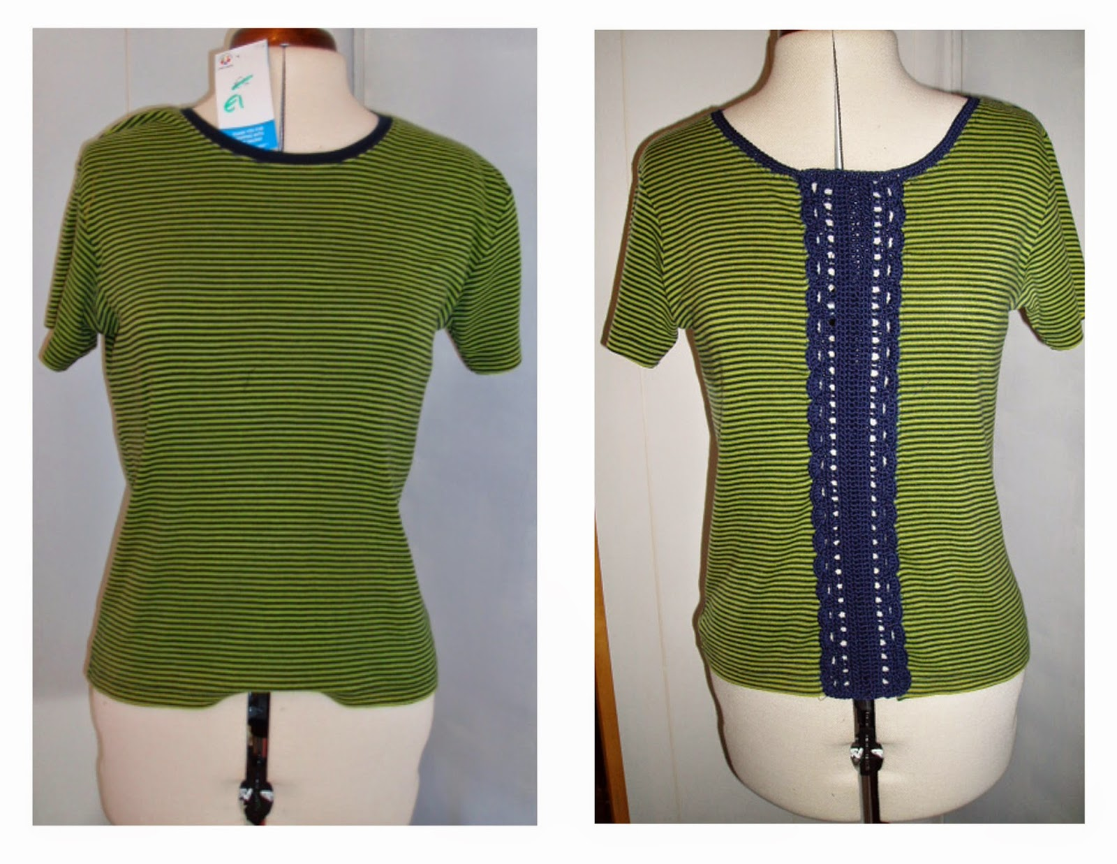 refashion upcycle tee shirt crochet panel