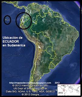 Ubicación de ECUADOR en Sudamérica, Google Earth