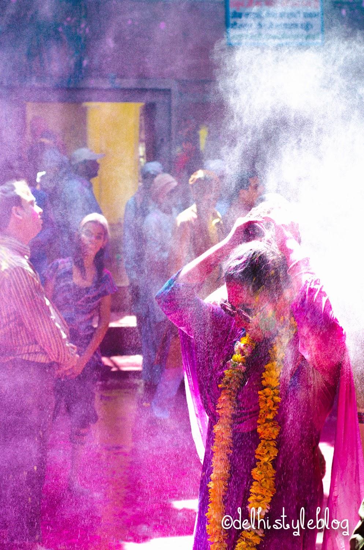 Holi at Banke Bihari Temple 3