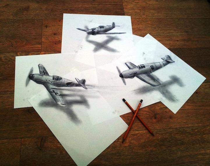 Alucinante ilusión óptica de dibujos 3D en hojas planas de papel ...