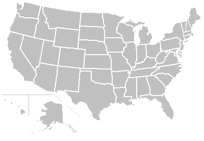 Gray and blank map of the United States