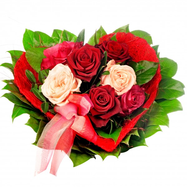 heart shaped mixed red roses flowers