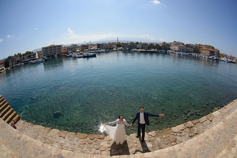 vestuvių fotosesija Kretoje prie Egėjo jūros