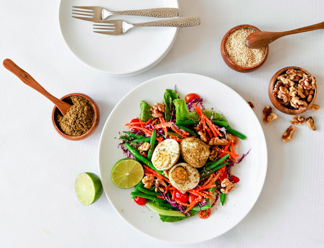 Simple Garden Salad with Zaatar Spiced Eggs