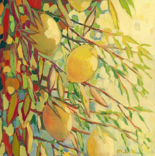 Four Lemons painting by Jennifer Lommers