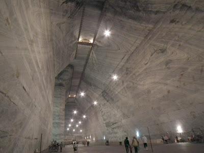 Unirea Salt Mine, Slanic Prahova, ceilings are bordered with wooden balconies