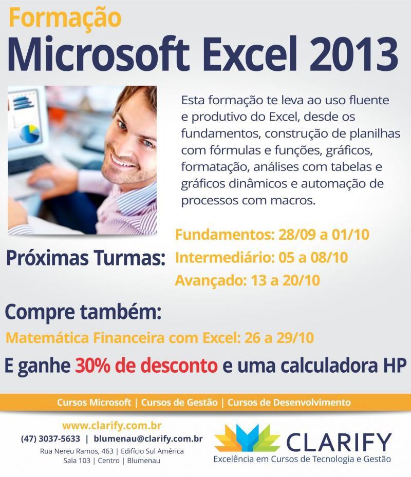 Curso Formação Microsoft Excel 2013 é na CLARIFY em Blumenau.