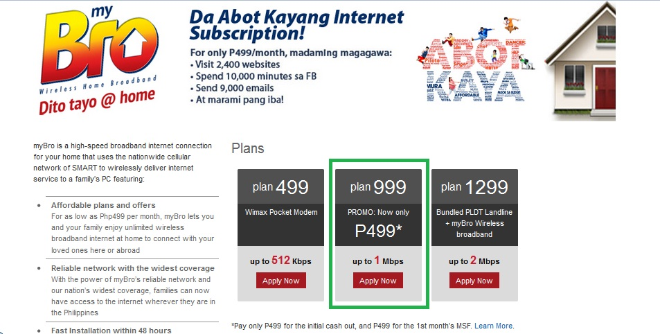 an online application over at PLDT/SMART to apply for internet