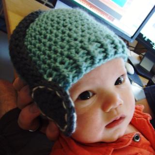 crocheted baby headphones hat