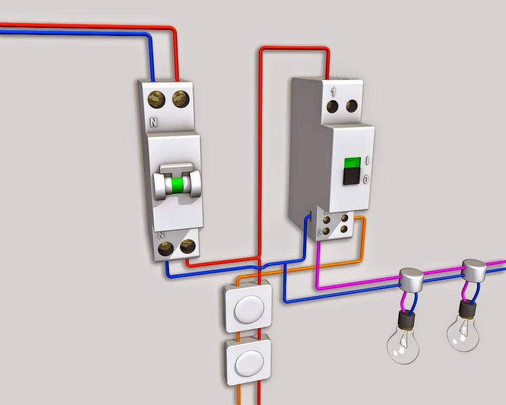 Sch ma lectrique du t l rupteur unipolaire schema electrique - Branchement luminaire 3 fils ...
