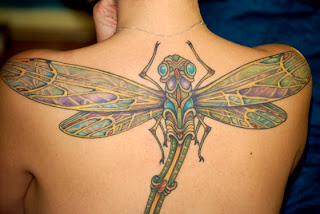 Large Dragonfly Tattoo on Back body