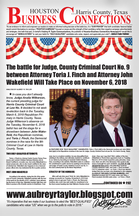 ATTORNEY TORIA J. FINCH AND ATTORNEY JOHN WAKEFIELD WILL FACE OFF ON TUESDAY, NOVEMBER 6, 2018