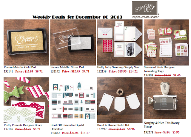 #StampinUp weekly deals December 17 to 24, 2013