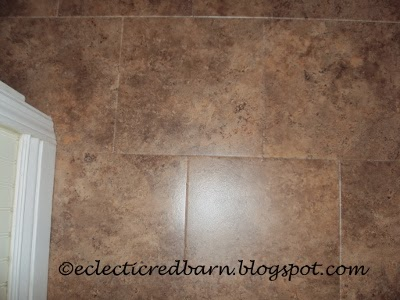 Eclectic Red Barn: Adding vinyl tiles to laundry room floor