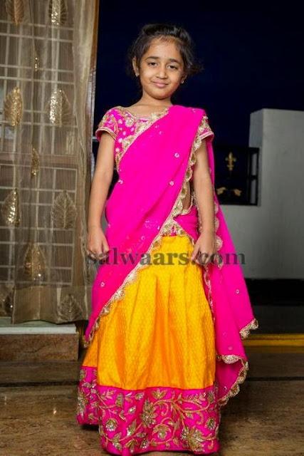 Lovely Kid in Yellow Half Saree