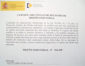 Certificado y número de Diseño Industrial