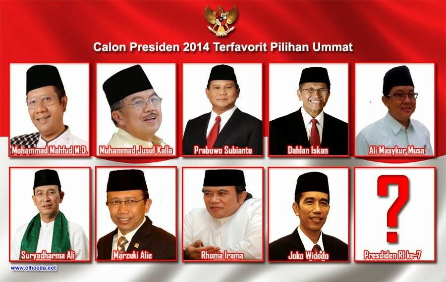 Inilah Daftar Calon Presiden RI 2014 Terfavorit Pilihan Ummat