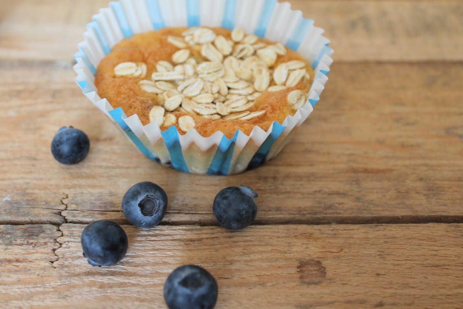 Blaubeer Muffin mit Haferflocken