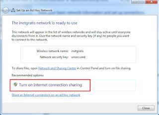 aktifkan internet sharing
