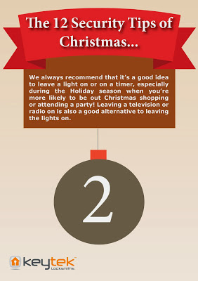 Keytek 24 hour locksmiths tip 2 of The 12 Security Tips of Christmas