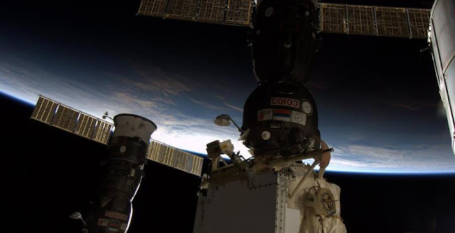 Russian Progress and Soyuz spacecraft docked to the International Space Station. Photo Credit: ESA/NASA