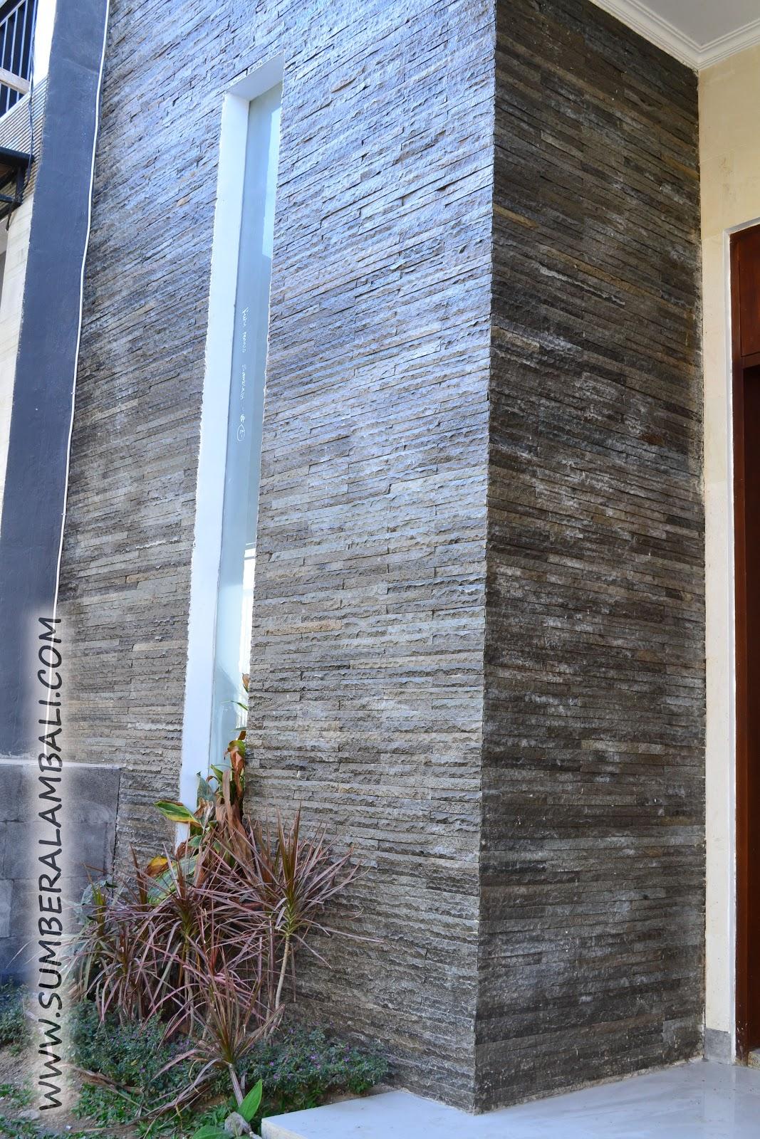 contoh pemasangan batu alam pada dinding tembok luar